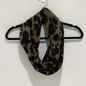 Aldo Leopard Print Infinity Scarf Brown & Black
